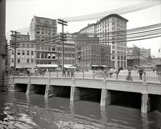 "Providence, Rhode Island, circa 1906. ""Crawford Street bridge."" 8x10 inch dry plate glass negative, Detroit Publishing Company."