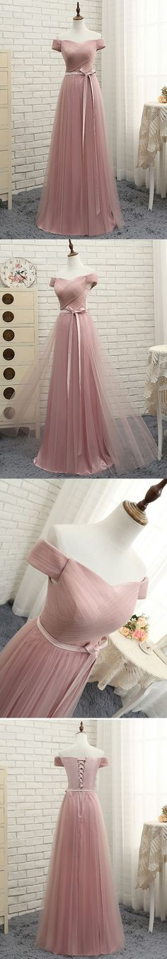 Little Cute | Pink tulle off shoulder A line long prom dress, pink evening dresses | Online Store Powered by Storenvy