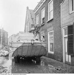 Amfibievoertuig in overstroomde straat, watersnoodramp, Stavenisse (1953) North Sea, Amphibians, Rotterdam, Homeland, Military Vehicles, Dutch, The Past, Trucks, History