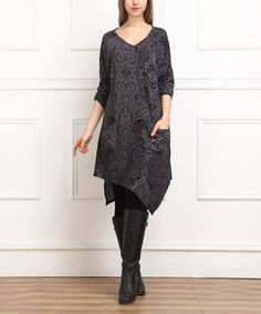 Look at this #zulilyfind! Charcoal Ornate Handkerchief Dress #zulilyfinds