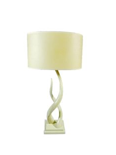 Intertwined Table Lamp with white linen shade.