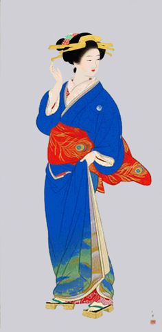 by Shoen Uemura Japanese Drawings, Japanese Prints, Japanese Design, Asian Image, Geisha Art, Art Asiatique, Art Japonais, Japanese Painting, Japan Art