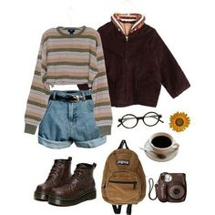 Striped cropped crew neck with mom shorts, western belt, glasses 33 Best ideas for fashion grunge outfits hipster I love the shirt,pant Replace the shorts with a skirt and it's perfect! A whole outfit to buy Fashion 90s, Grunge Fashion, Look Fashion, Trendy Fashion, Korean Fashion, Fashion Outfits, Fashion Clothes, Style Clothes, 90s Clothes