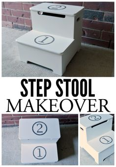 This old step stool was headed for the giveaway pile but was given a second chance with a quick paint makeover!