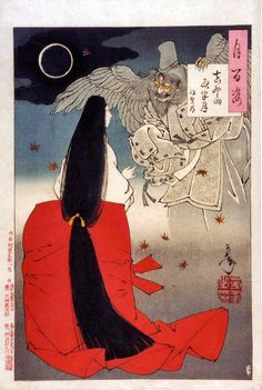 """No.15 YOSHITOSHI, Tsukioka (1839 - 1892) """" 100 Aspects of the Moon,"""" printed January 1886. Leo Verwoerd's annotation: """"Iga no Tsubone...exorcizes the spirit of the courtier Sasaki no Kiyotaka under a full, but heavily clouded moon. Kiyotaka, adviser to Emperor Go-Daigo, was forced to commit suicide in 1333, and his angry spirit haunted the Emperor's temporary court in the Yoshino Mountains."""" I love the spirit's hand grasping the caption box, the yellow eyes, the wings, the eclipse."""