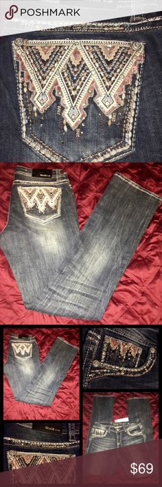 💥💥Grace in LA Boot Cut Easy Fit Denim Grace in LA Easy Fit Denim Jeans with Copper Embellished, Boot Leg, Embellished trim above the rear & pockets, NWT💕💕 Grace in LA Jeans Boot Cut