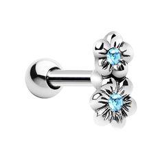 Silver 925 Aqua CZ Dual Flower Cartilage Tragus Earring