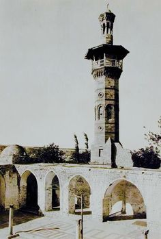 The octagonal Mamluk minaret built in 1427 at the Great Mosque of Hama, Syria founded in the 7th century. Photo taken before 1982 war destroyed the minaret (now restored).