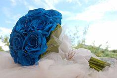 arranjo de buquet azul