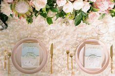 Beautiful blush wedding table decor - Mia and RJ's Wedding in Maui, Hawaii by Anna Kim Photography