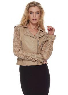 7edcfd78 Urban Mist Beige Fitted Leather Biker Jacket With Lace Crochet Sleeves  Designer Jackets, Faux Leather