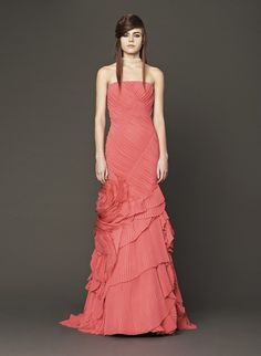 Vera Wang shocked with a hot pink hued bridal gown collection! (Note: they're also available in ivory and white!)
