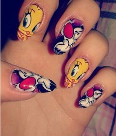 Tweety and Sylvester the cat nails