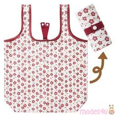 foldable cherry blossom shopping bag from Japan Cute Designs, Flower Designs, Cat Bag, Kawaii Shop, Light Cream, Sewing Techniques, White Patterns, Cherry Blossom, Shopping Bag