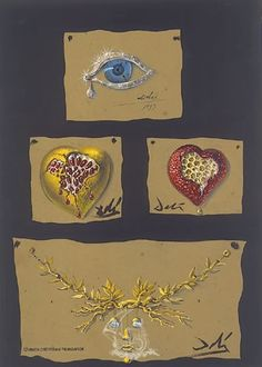 """[+] Extending image  Dalí i Domènech, Salvador  Study for the jewels: """"The Eye of the time"""", """"The Pomegranate Heart"""", """"The Honeycomb Heart"""" and """"The Tree of Life Necklace""""  1949  Pencil and gouache on cardboard  33.80 x 23.80 cm."""