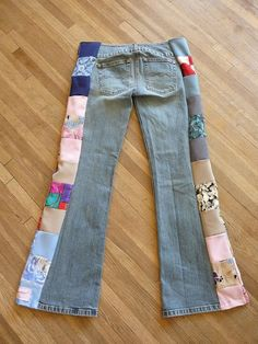 Patchwork Jeans Handmade Unique Clothing by hippiehousedesigns