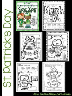 50% Off for the First Two Days! St. Patrick's Day Fun! Basic Subtraction Facts - Color Your Answers Printables! FIVE printables and FIVE answer keys for basic subtraction facts with a FUN St. Patrick's Day Theme! #TPT $Paid
