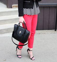 Peplum, Red Trouser, Red Lip, Heels, Tweed Jacket www.katalinagirl.com