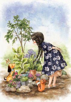 各式美丽的花草,初夏清新的庭院 ~ 来自韩国插画家Aeppol 的「森林女孩日记」系列插画。