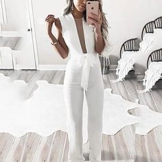 BEFORW 2018 Women Sexy Sleeveless V Neck Lace Up Wide Leg Long Jumpsuit Overalls Body suit White Causal Rompers macacao feminino Wedding Rompers, Wedding Jumpsuit, Wedding Dresses, Jumpsuit Outfit, White Jumpsuit, Bodycon Jumpsuit, Short Jumpsuit, Ladies Jumpsuit, Elegant Jumpsuit