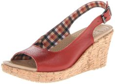 Crocs Women's A-Leigh Wedge Sandal,Scarlet,6 M US