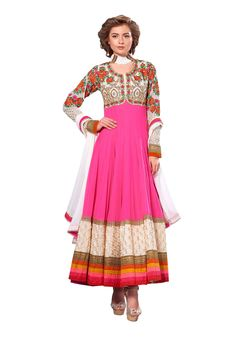 Semi Stitched Pure Georgette Embroidered Anarkali Suit M316-2255 At Aimdeals.com