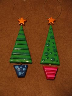 Modify: simple triangle with square trunk /hole in top with a straw for an ornament or necklace/ eraser for ornaments & pencil for stripes (press)