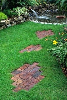.Easy! Brick garden pathway random pattern with pavers