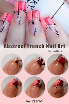 Abstract French Tips Nail Art tutorial ❤️ Here are some awesome but simple nail designs you can easily do at home! Love fancy nail art but do not have the artistic touch or a steady hand? ❤️ See more: naildesignsjourna. Fancy Nail Art, Trendy Nail Art, Stylish Nails, Simple Nail Designs, Nail Art Designs, Nails Design, French Tip Nail Art, French Art, French Tip Nail Designs