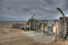 Namibia - Skeleton Coast National Park entrance gates.