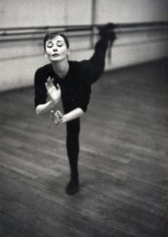 """David Seymour Audrey Hepburn during ballet rehearsal for the film """"Funny Face"""", Paris, France 1956 Audrey Hepburn Born, Photographer Portfolio, Fred Astaire, Wayne Dyer, British Actresses, Actors, Funny Faces, Old Hollywood, Breakfast At Tiffanys"""