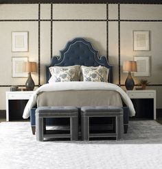 Everything in this room works! From the studded walls, to blue headboard to tufted stools at the end of the bed Fine Furniture, Bed Furniture, Custom Furniture, Home Bedroom, Bedroom Decor, Blue Headboard, Casa Clean, Headboards For Beds, Guest Bedrooms