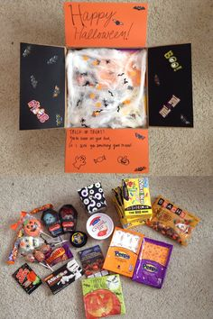 Halloween care package! Can be sent as a deployment care package, missionary care package, college care package, ect. In this one, I covered the bottom of the box in fake cobwebs, then put tons of different Halloween themed treats on top. I included his favorite candy, Zours, as well as caramel apple dip. In the box with the eyes (which I found at Michael's), I put a letter from me. I also included a grow your own pumpkin, since he won't be able to have a real one. Super simple!
