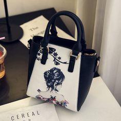 Fashion colored drawing 2017 women's handbag summer paragraph brief handbag new personalized messenger  shoulder bag