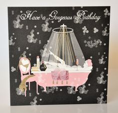 Here is really cheeky birthday card for the girls! This gorgeous birthday girl is soaking in her bath tub drinking a glass of champagne! The cards has lots of glitter and Swarovski crystals. Glass Of Champagne, Birthday Cards For Women, Creative Cards, Diy Cards, Girl Birthday, Swarovski Crystals, Cool Designs, Bubbles, Christmas Ornaments