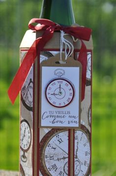 Tutoriel emballage porte bouteille par Marie Meyer Stampin up - http://ateliers-scrapbooking.fr/