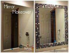 DIY glass tile mirror frame- new idea for that tile you can't seem to find the r. - DIY glass tile mirror frame- new idea for that tile you can't seem to find the right place to use - Home Diy, Diy Bathroom, Mirror Makeover, Tile Mirror Frame, Diy Glass, Diy Home Improvement, Bathrooms Remodel, Bathroom Makeover, Diy Bathroom Makeover