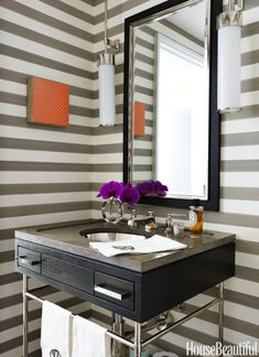 Bathroom with Striped Wallpaper #homedecor #newyorkapartment