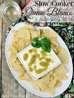 Slow Cooker Queso Blanco with Salsa Verde #SundaySupper | Bobbi's Kozy Kitchen: