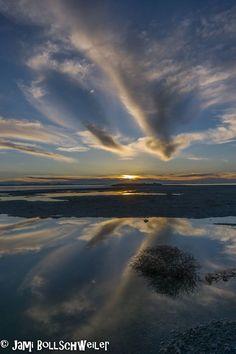 Beautiful cloud reflection near Antelope Island State Park, Utah