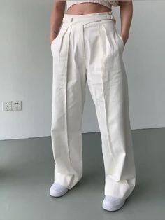 Dhoti Pants For Men, Pants For Women, Girly Outfits, Casual Outfits, Fashion Outfits, White Trousers, Slacks, Velvet Dress Designs, Red Slip Dress