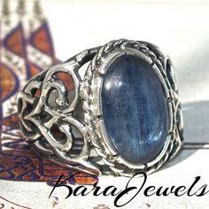 Beautiful kyanite set in a unique handmade men ring
