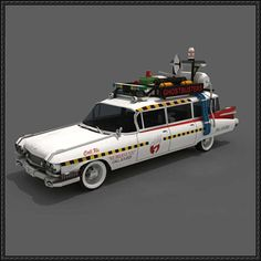 Ghostbusters - Ecto-1 Paper Car Free Papercraft Download - http://www.papercraftsquare.com/ghostbusters-ecto-1-paper-car-free-papercraft-download.html
