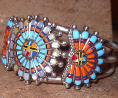 Vintage Zuni multi-stone inlay sunface cuff