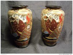 Paire de Vases Japonais Porcelaine Japon Satsuma Vers 1930 Japenese Porcelain