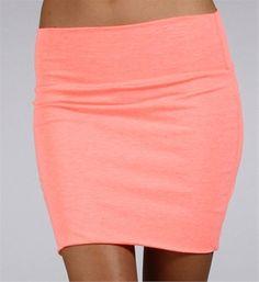 Neon Coral Body Con Mini Skirt