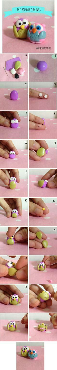 Could try to make with fondant? Polymer Clay Owl, Sculpey Clay, Polymer Clay Animals, Polymer Clay Miniatures, Polymer Clay Projects, Polymer Clay Creations, Polymer Clay Jewelry, Clay Crafts, Crea Fimo