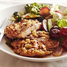 Chopped pecans make a crunchy coating for these chicken thighs. Get more quick and easy chicken recipes: http://www.bhg.com/recipes/chicken/30-minutes-less/quick-easy-chicken-dinner-recipes/?socsrc=bhgpin031813pecanchicken=24