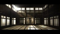 Dojo(道場) : a place where judo, jujutsu, aikijujutsu, and kendo is practiced. Japanese Dojo, Japanese House, Japanese Shrine, Japanese Interior, Japanese Design, Japanese Style, Karate Dojo, Tatami Room, Ju Jitsu