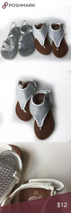 Girls Sandals Bundle Size 11 GUC See images for condition  Silver Glitter-Old Navy....White/Silver-Faded Glory Old Navy Shoes Sandals & Flip Flops